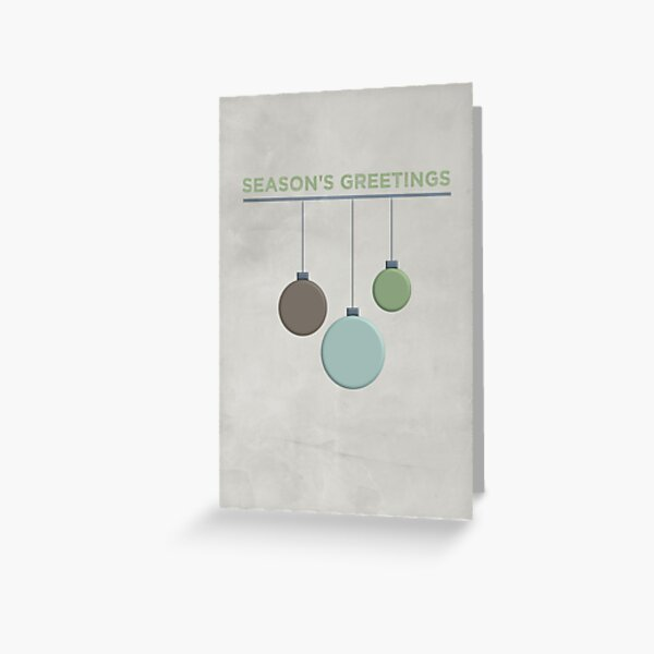Green Baubles - Seasons Greetings - Merry Christmas - Cards and Gifts Greeting Card