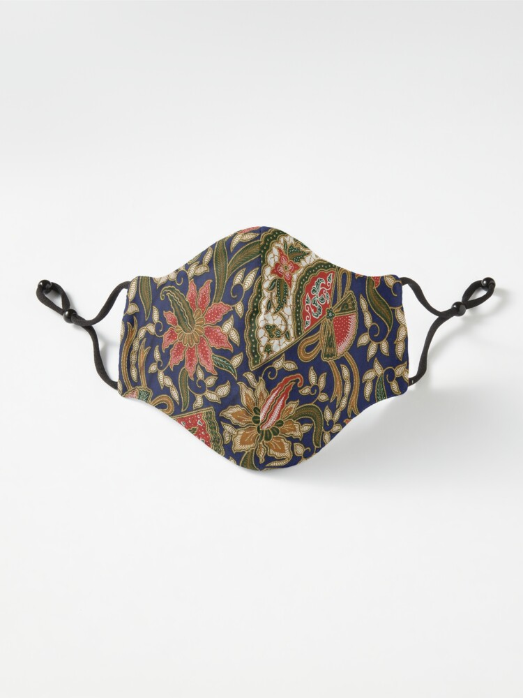 Alternate view of Red, blue, green, pattern, large, flowers Mask