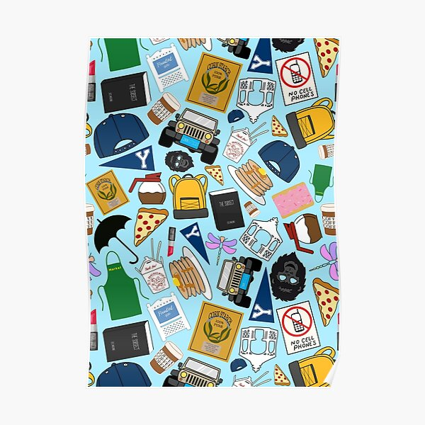 Ultimate Fan Pattern Icons All Over Print Blue Pack Poster