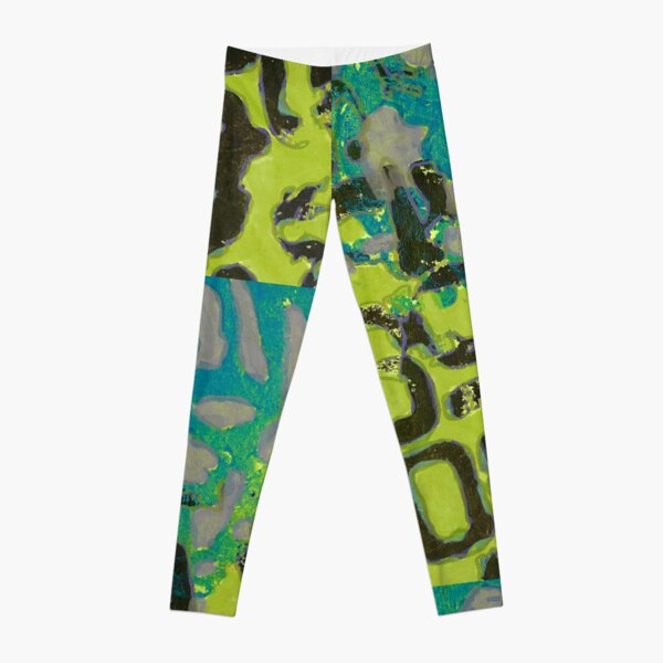 Handprinted Abstract Alphabet in Green and Turquoise Leggings