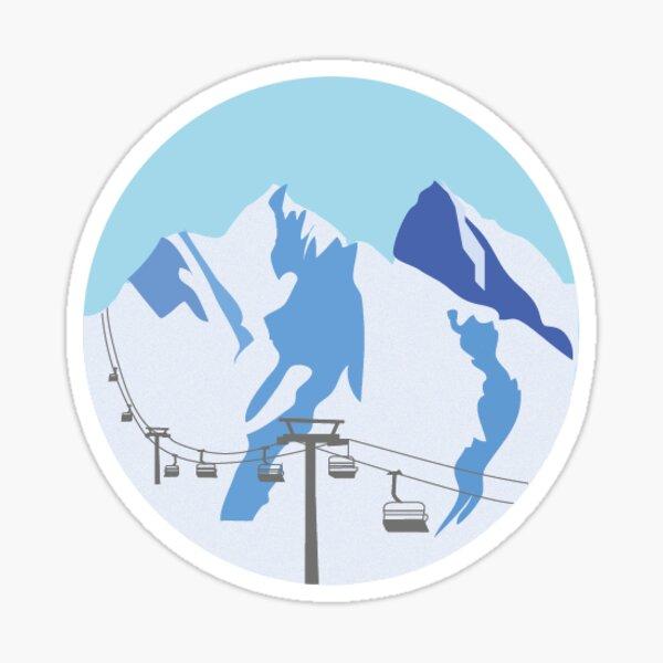 Blue Snowy Mountains | Ski Sticker Sticker