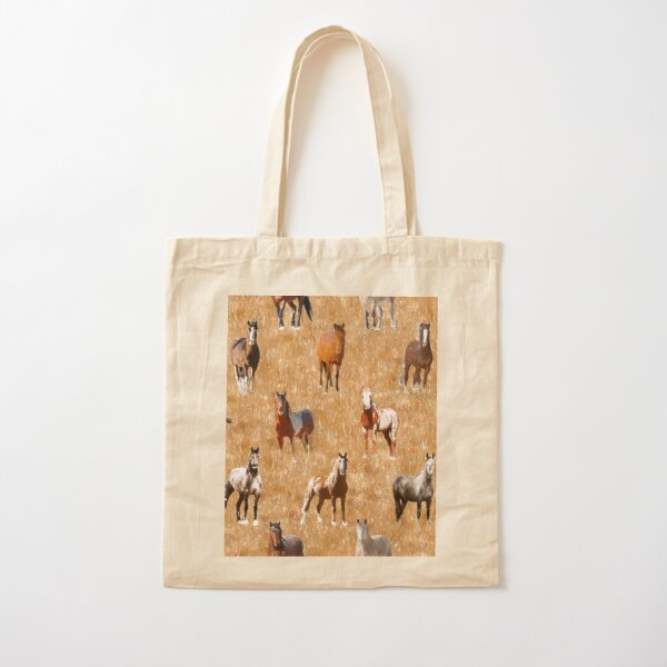 Mustang Horses sketched Cotton Tote Bag