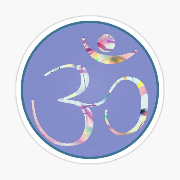 OM Logo v1 - multicolor on blue Sticker