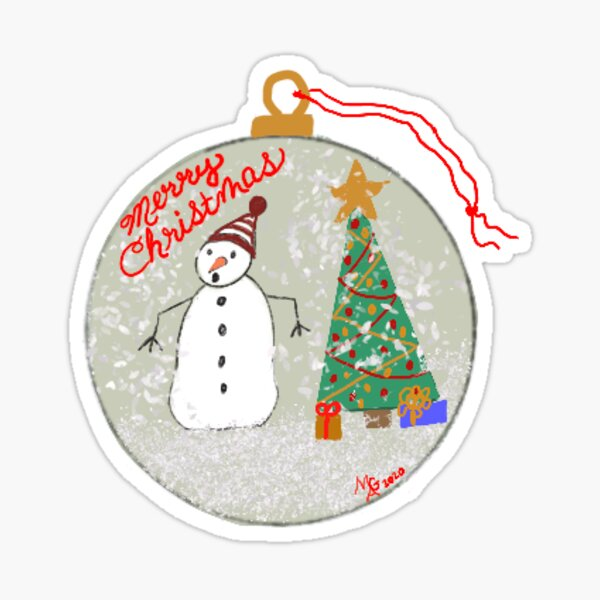 Snowman and a Christmas Tree Ornament Sticker