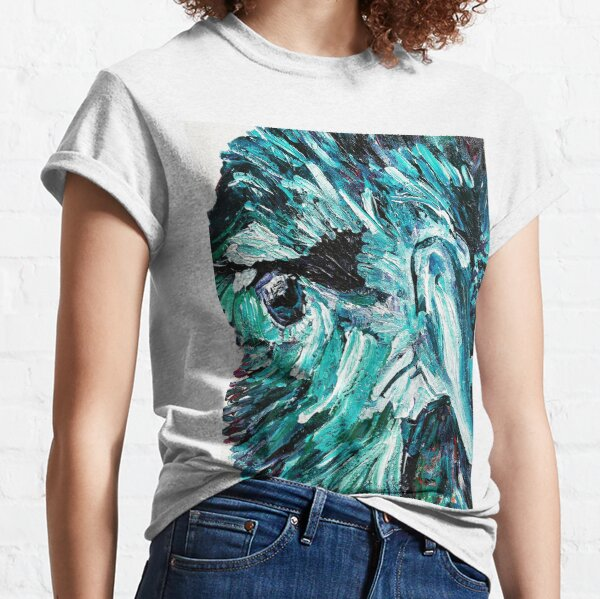 Blue Crow Raven Face crow painting Classic T-Shirt