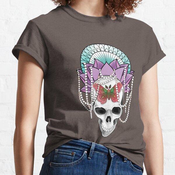 Ornate Lotus Skull and Moth Classic T-Shirt