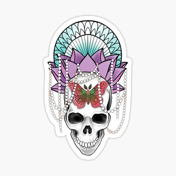 Ornate Lotus Skull and Moth Sticker