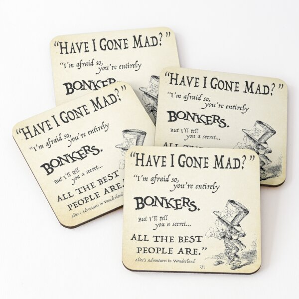 Alice in Wonderland Quote Coasters (Set of 4)
