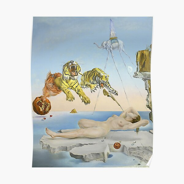 Dream Caused by the Flight of a Bee Around a Pomegranate a Second Before Awakening by Salvador Dali Poster