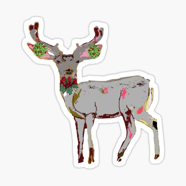 Christmas Deer Pink and Grey Deer with Antlers and holly Sticker