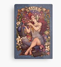 Gamer girl Nouveau Metal Print
