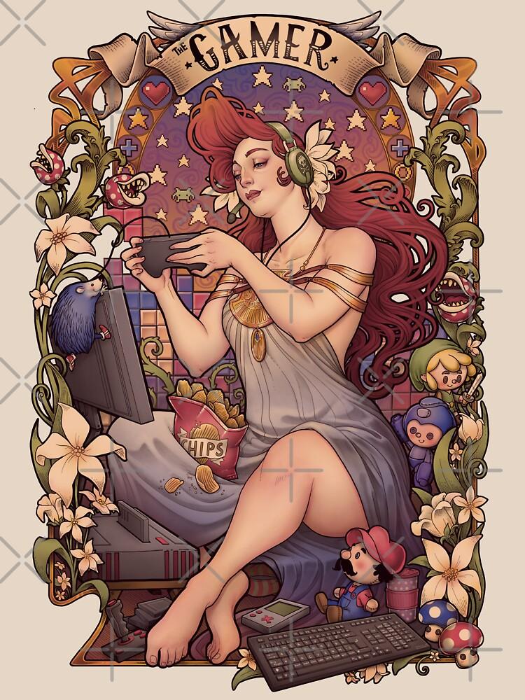 Gamer girl Nouveau by medusadollmaker