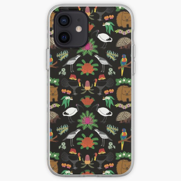 Aussie Friends and Flowers, black iPhone Soft Case