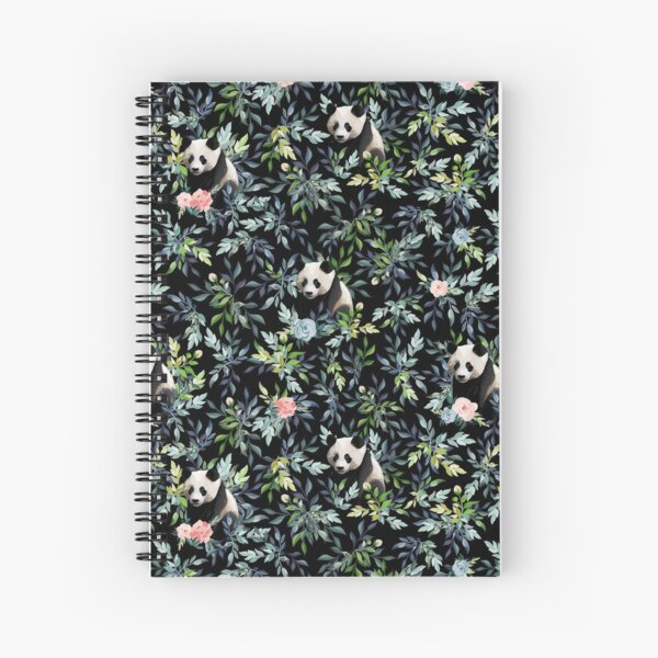 Floral Panda Pattern with Pink and Blue Roses Spiral Notebook