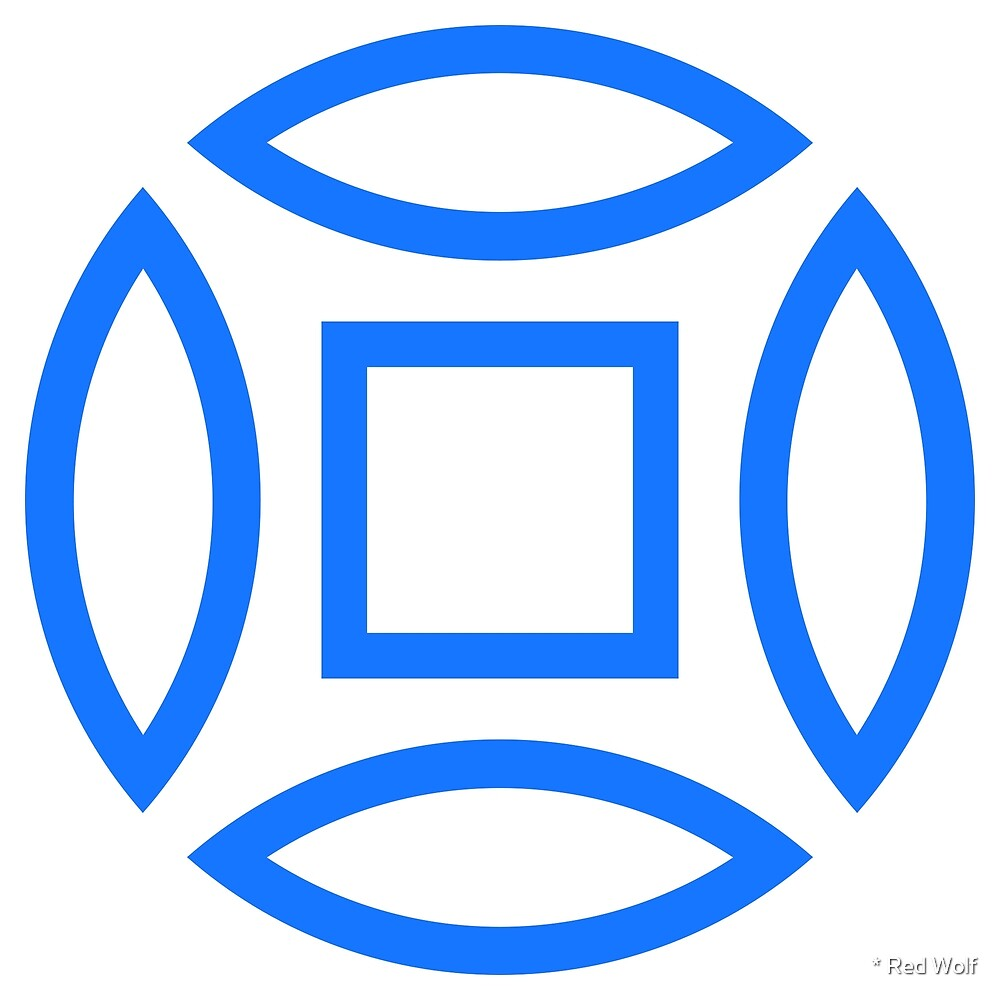 Geometric Pattern: Intersect Outline: White/Blue by * Red Wolf