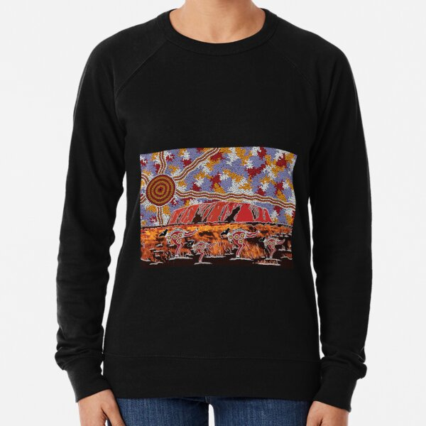 Authentic Aboriginal Art - Uluru | Ayers Rock Lightweight Sweatshirt