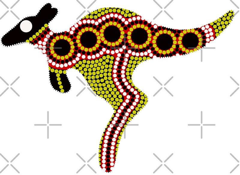 Quot Aboriginal Art Kangaroo Quot Stickers By Hogartharts Redbubble