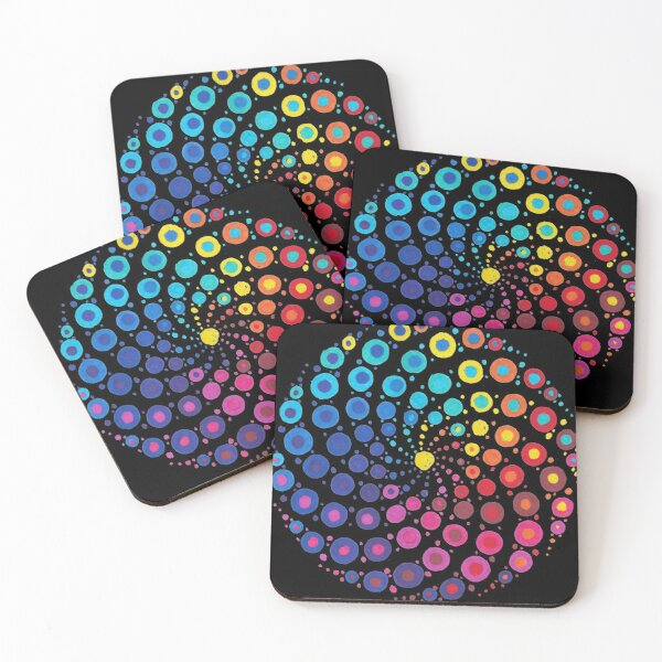 Dippy Doodle Dotty Mandala Black Background Coasters (Set of 4)