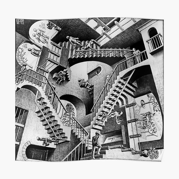 MC Escher Relativity I 1953 Artwork Reproduction for Posters Prints Tshirts Men Women Kids Poster