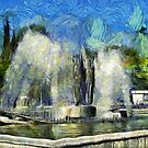 A digital painting of The Kinetic Fountain in  Drobeta Turnu Severin, Romania by Dennis Melling