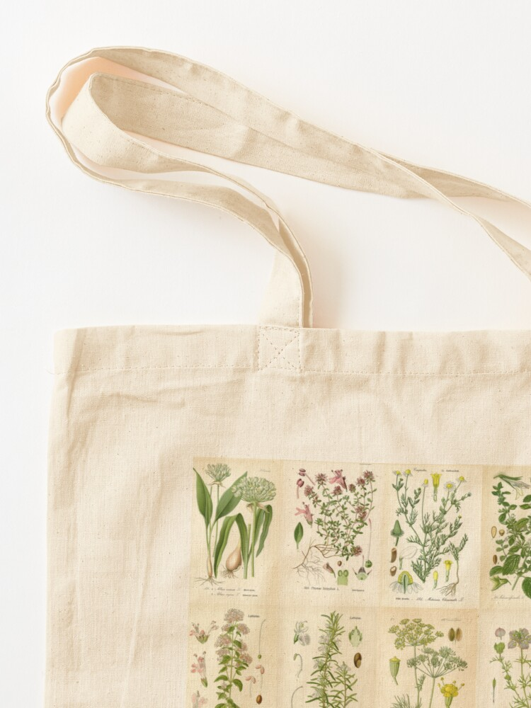 Alternate view of Apothecary Herbs Vintage Botanical Plants Cottagecore Tote Bag