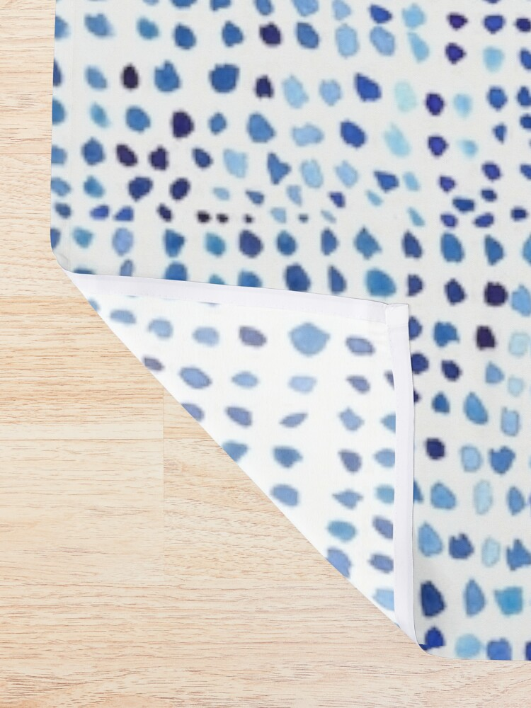 Alternate view of  Blue Watercolor Dots Shower Curtain