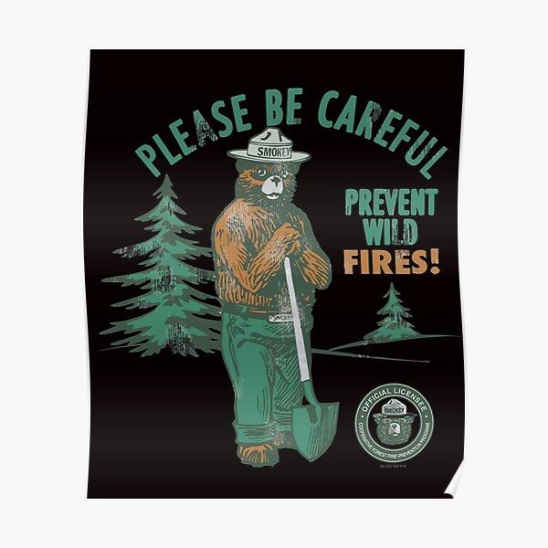 Smokey Bear Retro Smokey Prevent Wildfires Ringer Poster