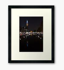 Magical Amsterdam Night - Blue Crown Skyline Framed Print
