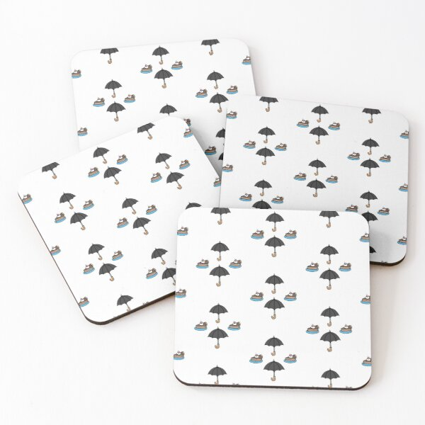 Mycroft Holmes pattern umbrella and cake  Coasters (Set of 4)