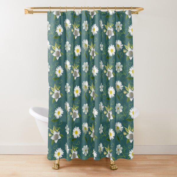 Whites of Summer on Blue Shower Curtain