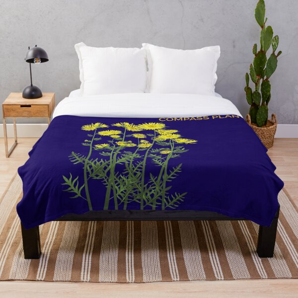 Compass Plant on indigo Throw Blanket