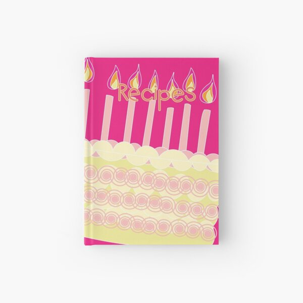 *Recipes* cover design with Birthday Cake and Candles icon, pink background Hardcover Journal