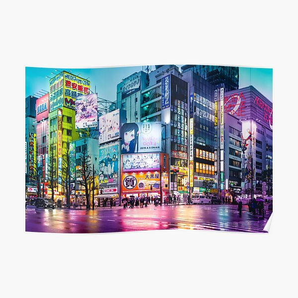 Anime Akihabara Neon Dream many colourful reflection on the wet streets Poster