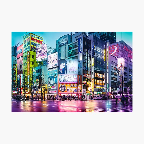 Anime Akihabara Neon Dream many colourful reflection on the wet streets Photographic Print