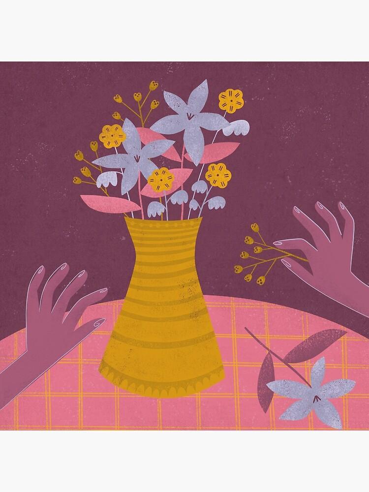 Flower arrangement - illustration in lavender, pink, mustard yellow and violet by PawlickinDog