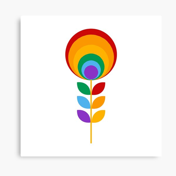 Rainbow Mid Century Flower Canvas Print