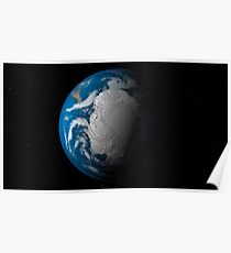 Full Earth showing simulated clouds over Antarctica. Poster