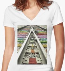 Rainbow Train Track  Women's Fitted V-Neck T-Shirt