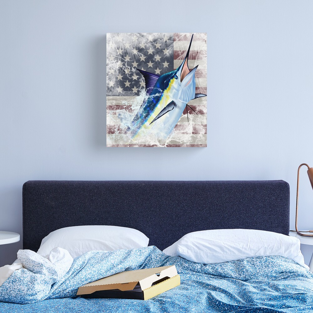 Blue Marlin with US Flag Canvas Print