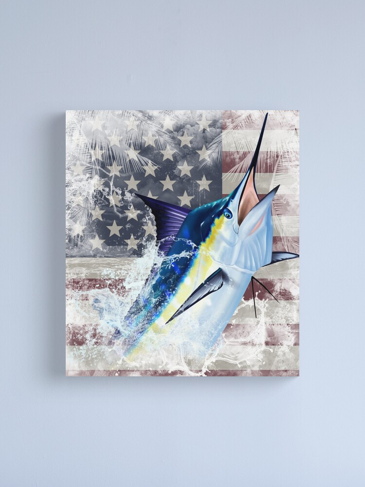 Alternate view of Blue Marlin with US Flag Canvas Print