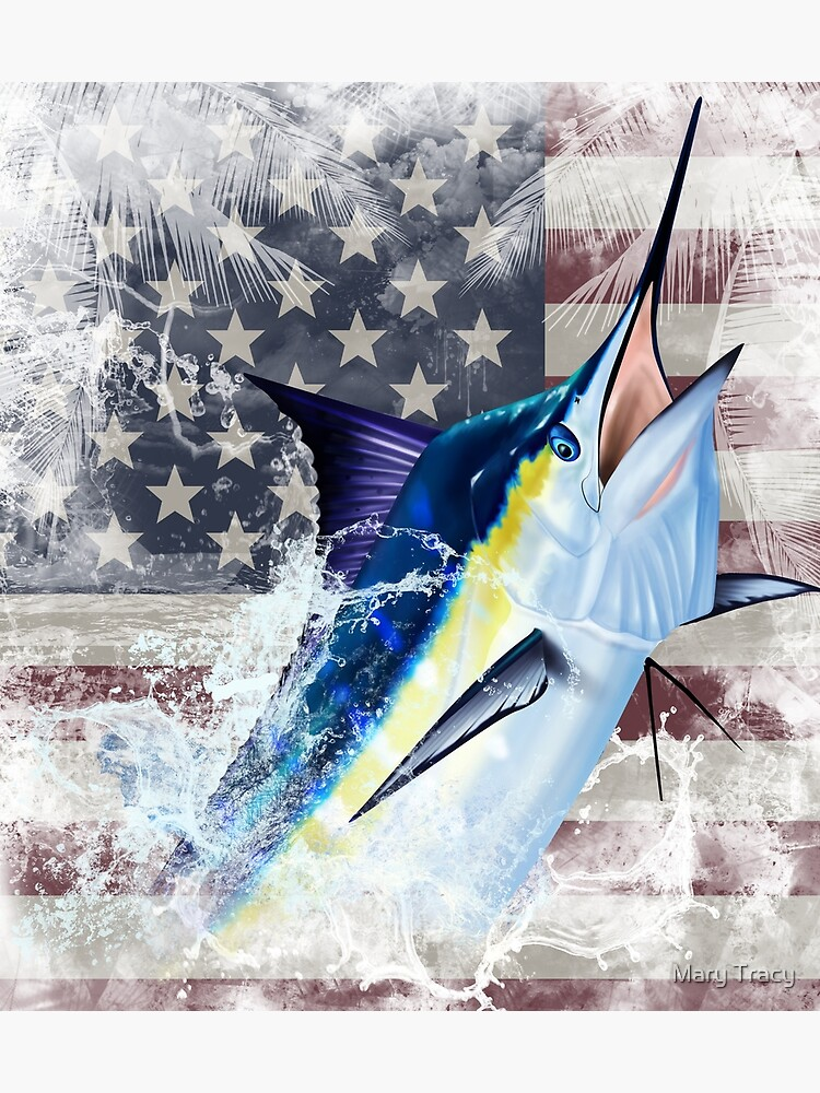 Blue Marlin with US Flag by iColor4U