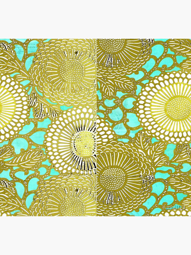 Turquoise and Gold pattern by anni103
