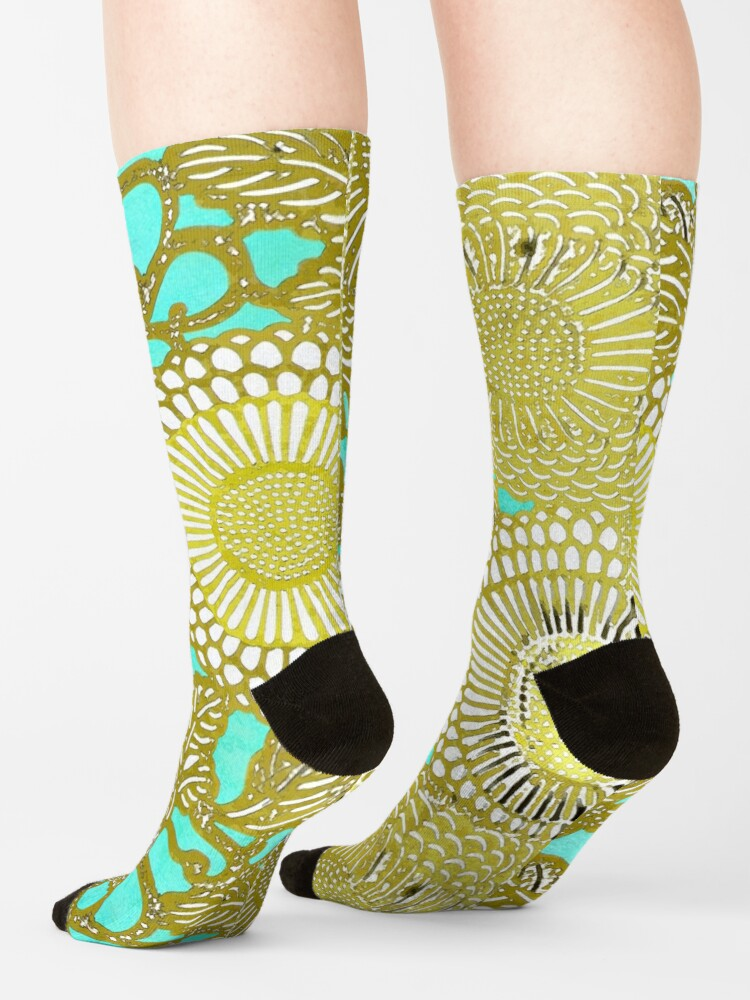 Alternate view of Turquoise and Gold pattern Socks