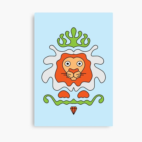 Cute Cartoon Lion with crown and diamond, king of the jungle - Orange and Green Canvas Print