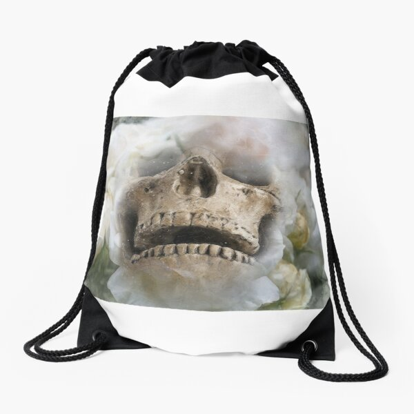 Skull and Roses Drawstring Bag