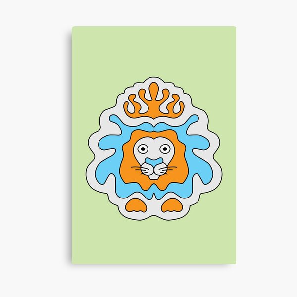 Cute Cartoon Lion with crown, king of the jungle - Orange and Blue Canvas Print