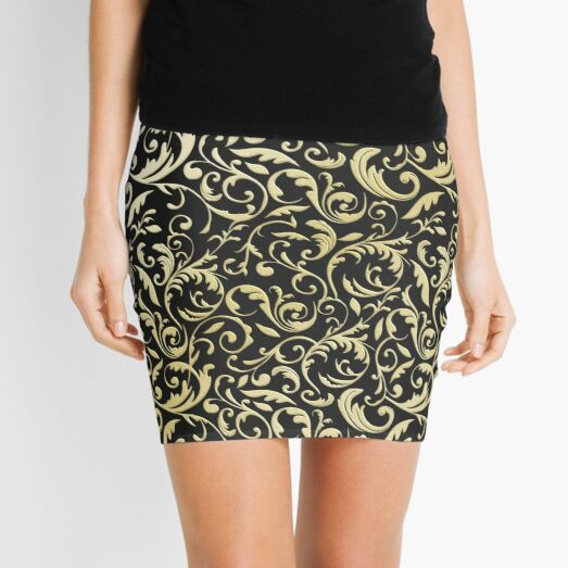 Black and Gold Paisley Pattern, Black and Gold Swirl Mini Skirt