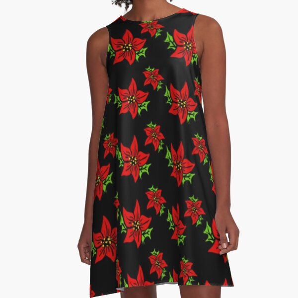 Poinsettia Pattern A-Line Dress