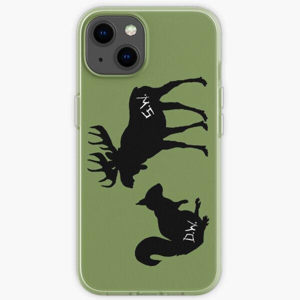 moose + squirrel - black iPhone Soft Case