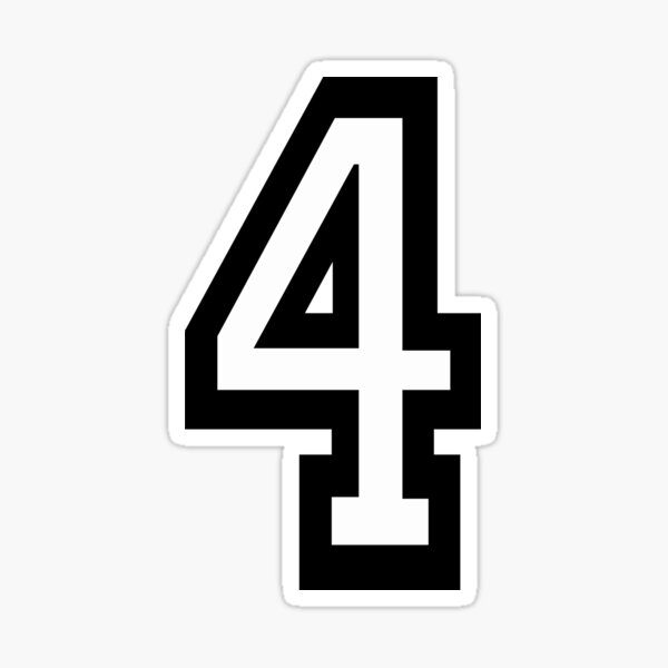 NUMBER 4. TEAM. SPORTS. FOUR, FOURTH, 4th. Competition, Quatro. Sticker